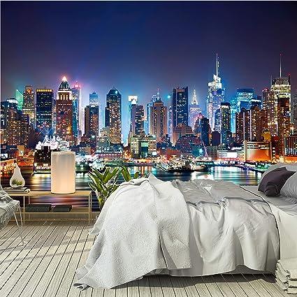 Manhattan-Nacht Fototapete Stadt Skyline New York Tapete Schlafzimmer Dekor