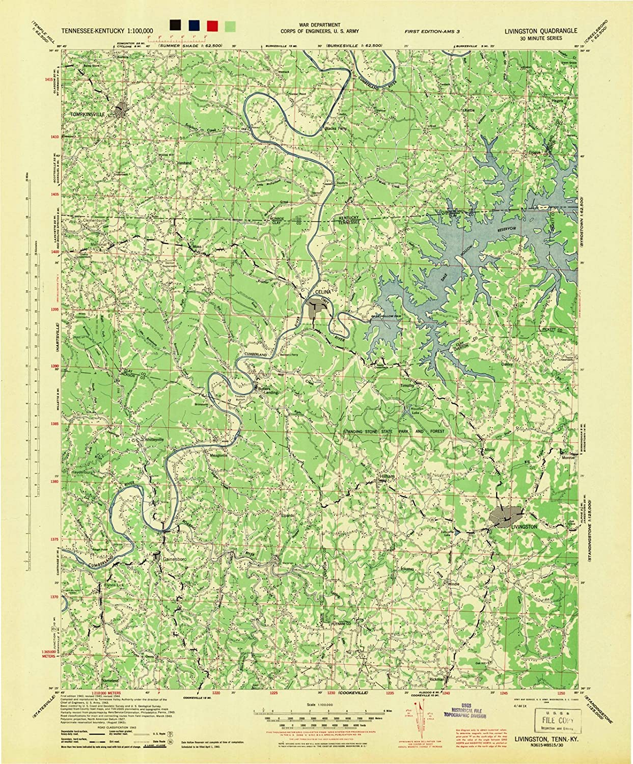 photograph relating to Printable Maps of Tennessee known as : Tennessee Maps 1944 Livingston, TN USGS