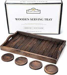 Tip-Top Table Top Wood Serving Tray with Handles and 4 Coaster Set - Rustic Wooden Tray, Leakproof Wood Coasters. Food or Decorative Tray. Ottoman Tray, Breakfast, Bathroom, Coffee, Dessert, Bed Tray
