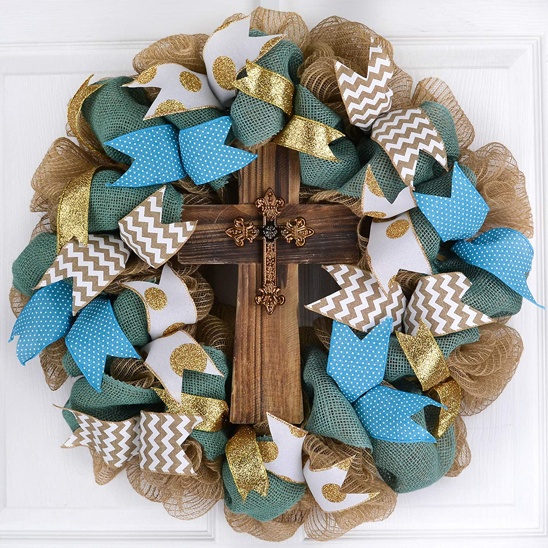 Everyday Rustic Cross Mesh Front Door Wreath; Turquoise Blue Jute White Gold Ivory Burlap