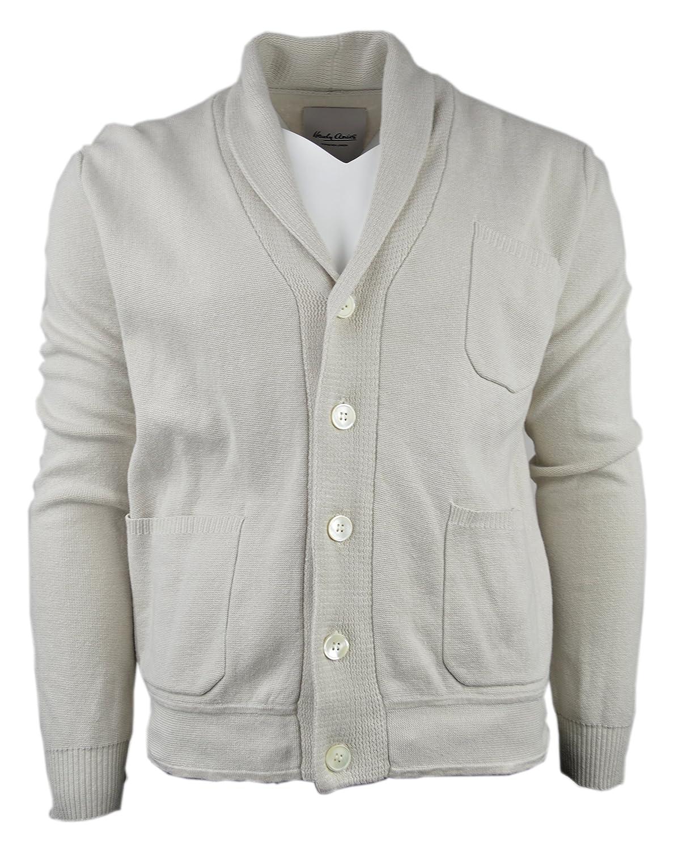 Hardy Amies Mens Linen Blend Shawl Collar Cardigan Sweater Bone