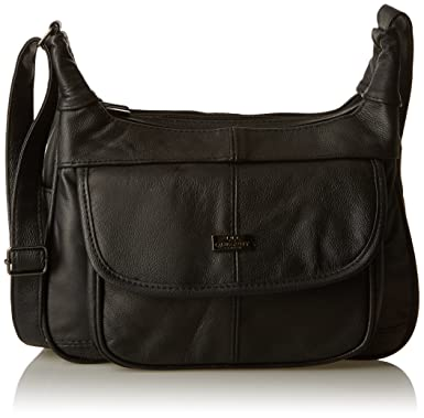 07e25f413b Quenchy London Damen Lederhandtasche - Schwarze Rindsleder Schultertasche -  Single Strap Cross Body Handtaschen - Mehrere