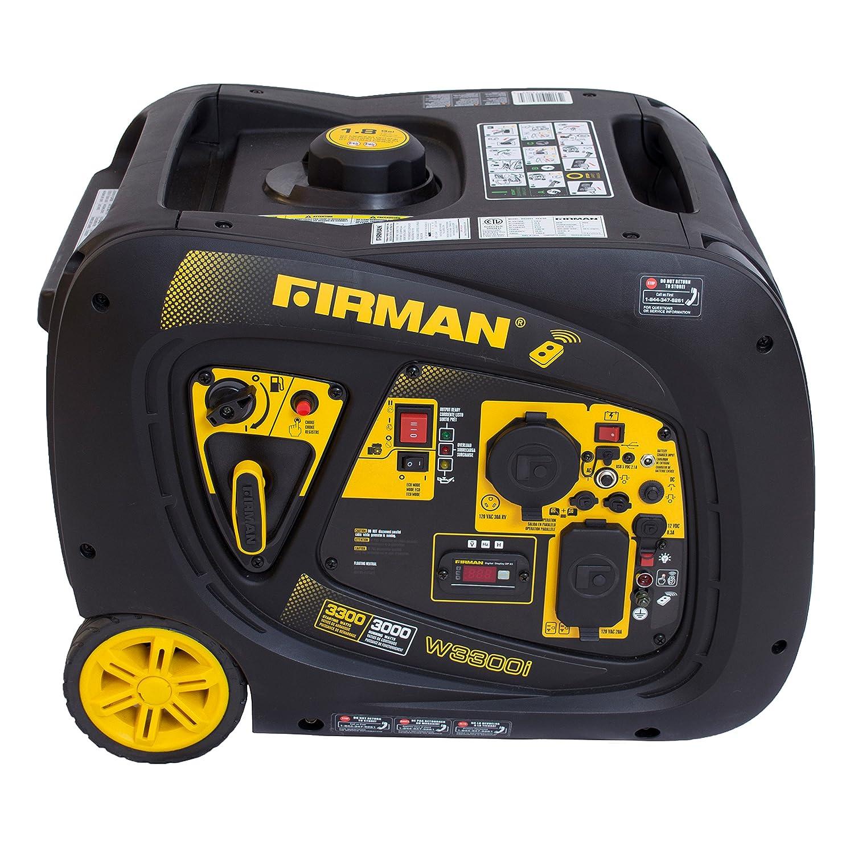 Firman W03083 3300 3000 Watt Remote Start Gas Portable Generator cETL and CARB Certified, Black