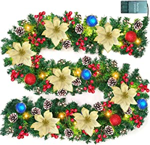 Camlinbo 9 Foot Christmas Garland with 50 Lights Christmas Decorations Prelit Poinsettia Garland with Gold Red Ball Ornament Berry Pine Christmas Indoor Stairs Fireplace Decor Battery Operated