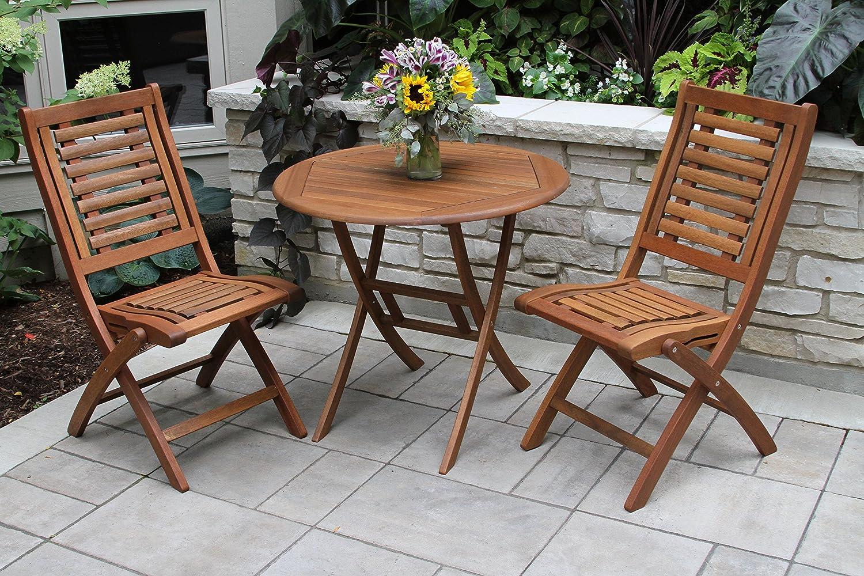 Outdoor Interiors Z30450 30 Folding Brazilian Eucalyptus Bistro Table