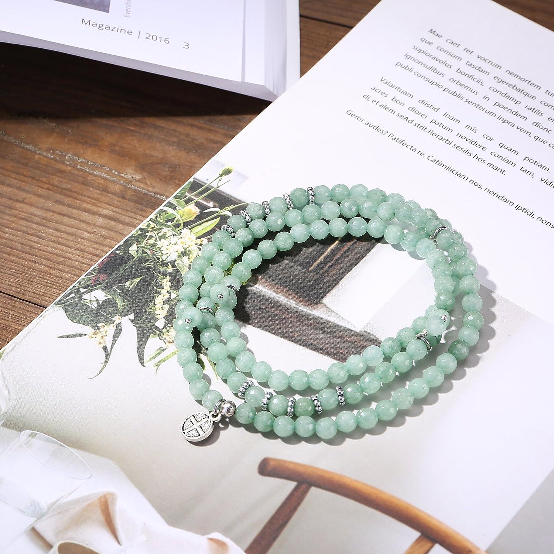 Tom+Alice piedra natural cuentas para oración pulseras para las mujeres pulsera de bolas de 6 mm Strand Joyería: Amazon.es: Joyería