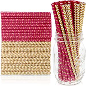 Party on Tap Pink and Gold Straws - Bulk Pack of 200 Assorted Paper Straws for Party Supplies, Birthday Parties, Baby Shower, Wedding Shower Decorations - 7.75 Inches