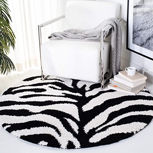 Safavieh Florida Shag Collection SG452-1298 Zebra Print Textured 1.18-inch Thick Area Rug