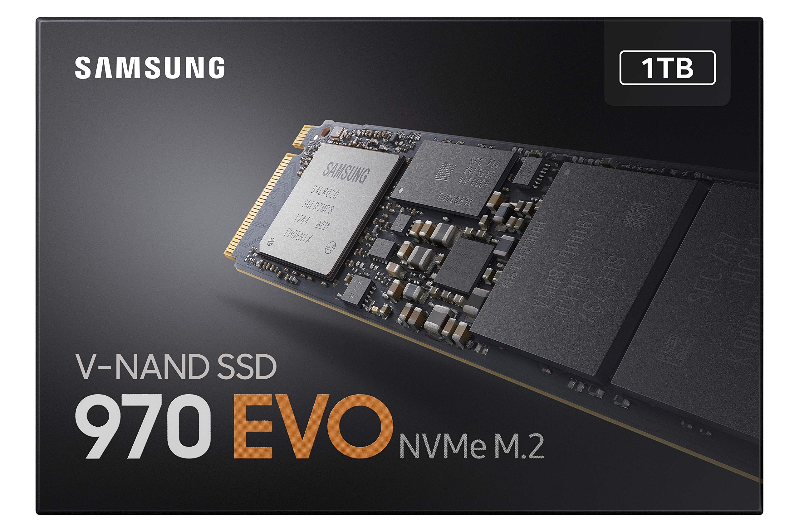 Samsung 970 EVO 10 Built with Samsung's industry leading V NAND technology for reliable and superior performance Read speeds up to 3,500MB/s* with a 5 year limited warranty and exceptional endurance up to 1,200 TBW* (* May vary by capacity) Seamless cloning and file transfers with the Samsung Magician Software, the ideal SSD management solution for performance optimization and data security with automatic firmware updates