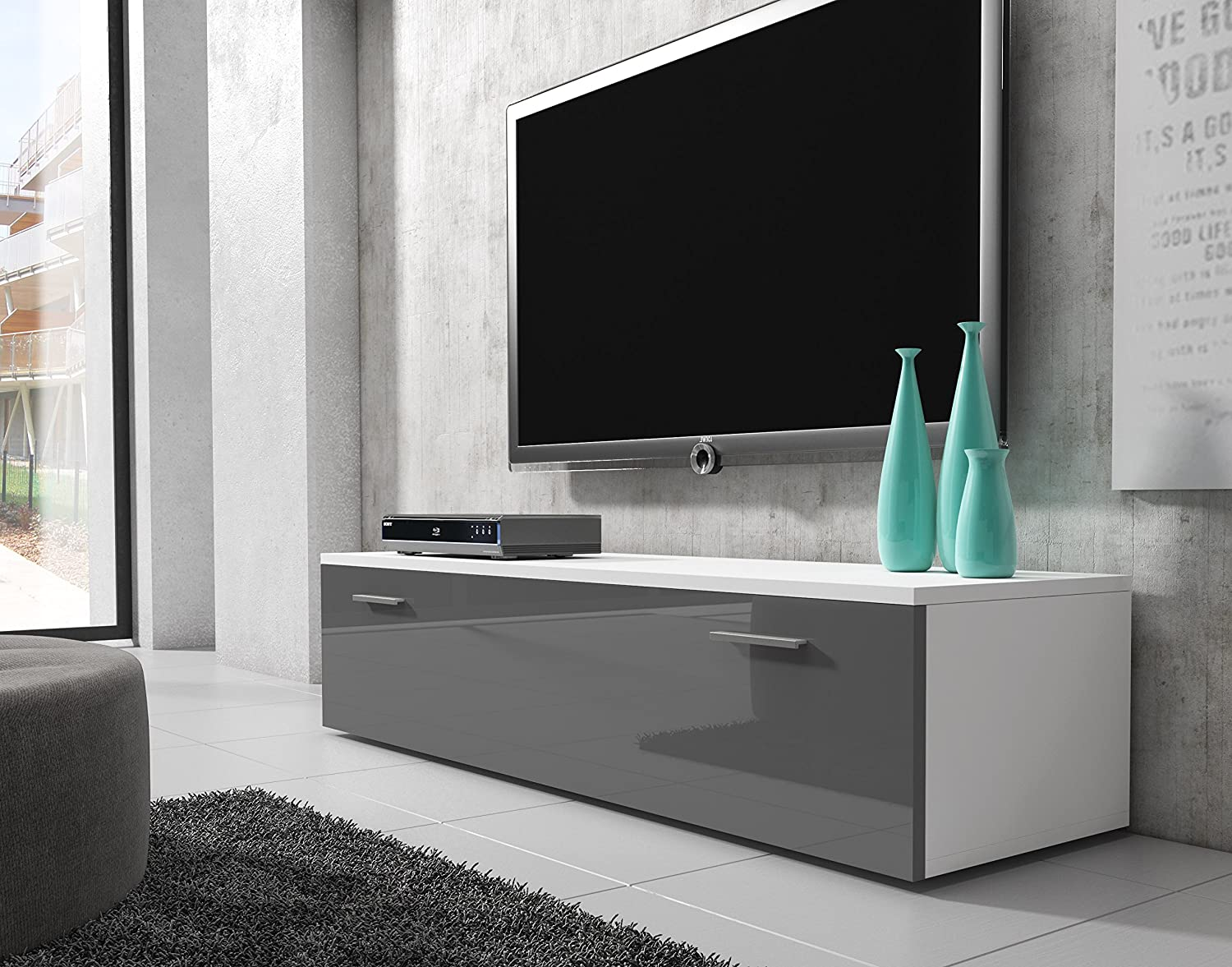 Tv Unit Cabinet Stand Boston Body Matte White Amazon Co Uk  # Groupon Meuble Tv