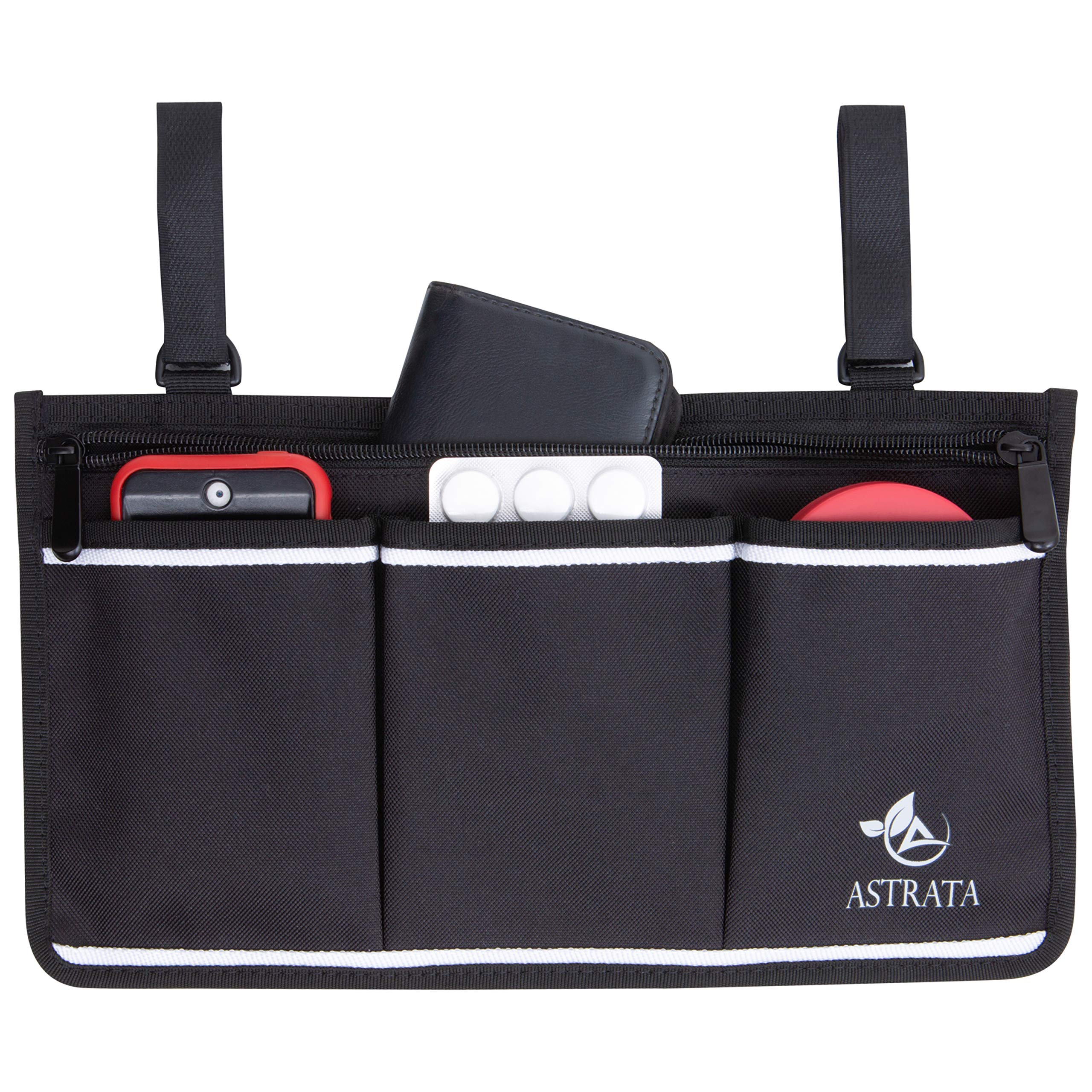 Wheelchair Side Bag - Arm Rest Pouch - Wheel Chair Accessories Organizers - Fits Walkers, Rollators, Scooters (Black Bag Alone) by ASTRATA
