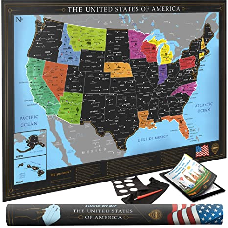 premium scratch off usa map black personalized wall map poster deluxe gift for travelers