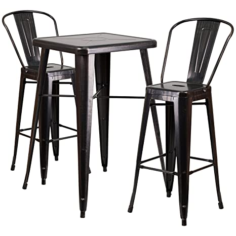 Wondrous Flash Furniture 23 75 Square Black Antique Gold Metal Indoor Outdoor Bar Table Set With 2 Stools With Backs Customarchery Wood Chair Design Ideas Customarcherynet