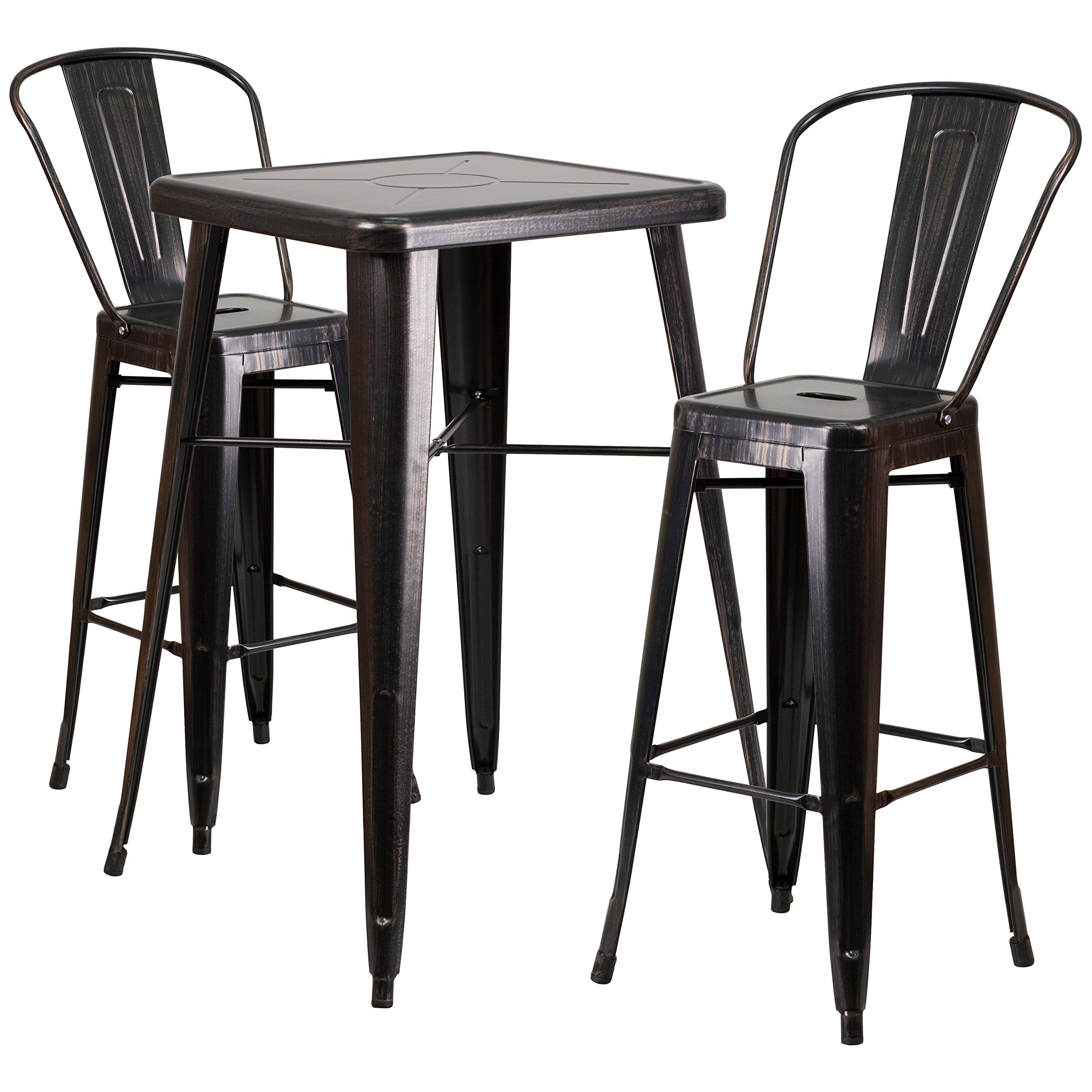Flash Furniture 23.75'' Square Black-Antique Gold Metal Indoor-Outdoor Bar Table Set with 2 Stools with Backs
