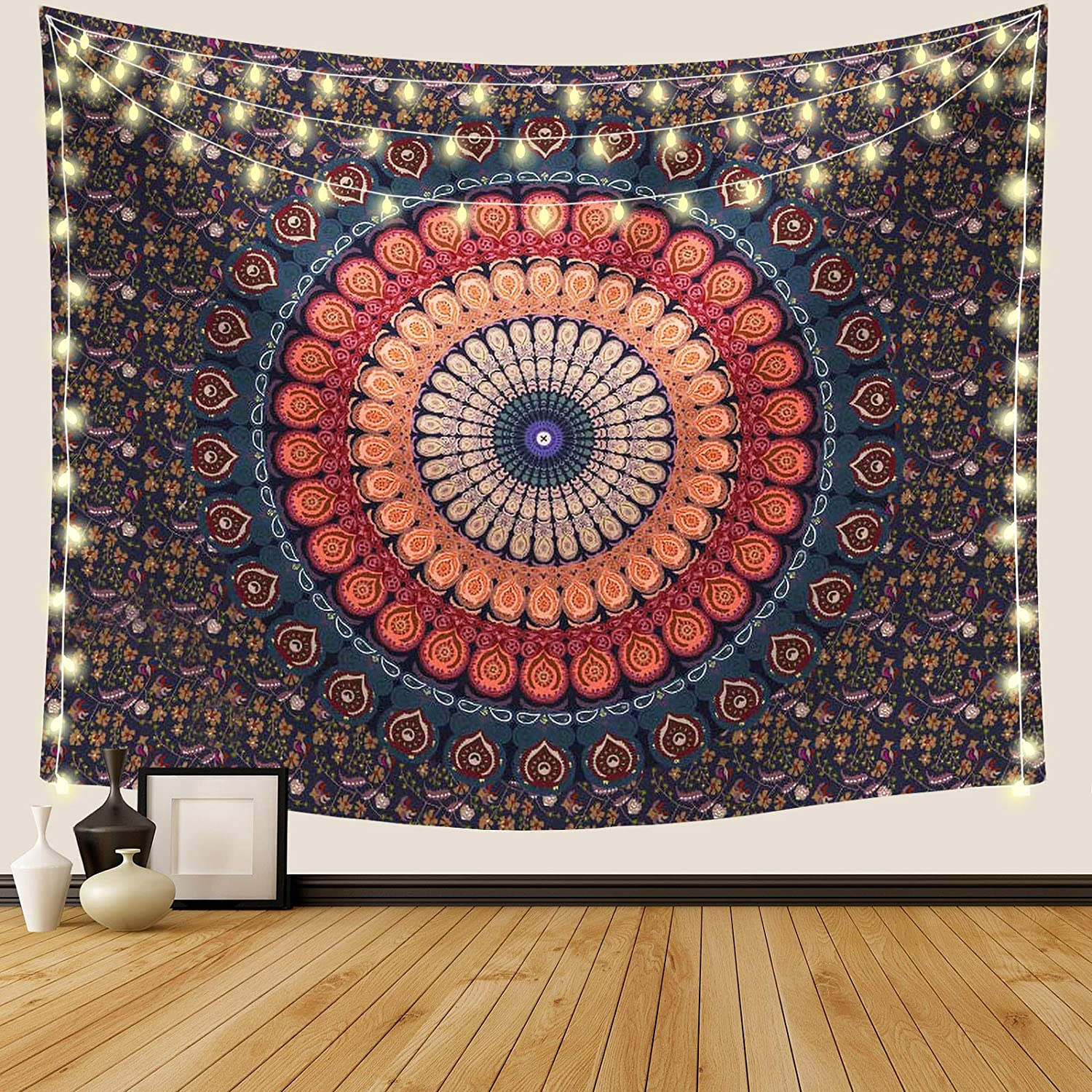 Ftuency Mandala Tapestry, Indian Hippie Bohemian Psychedelic Tapestries Women Peacock Wall Hanging for Bedroom Teen Girl (59