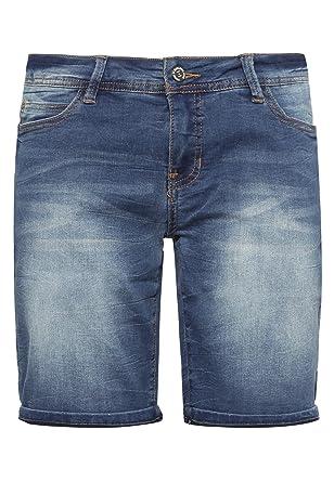 c0b4074af383 Sublevel Damen Stretch Jeans Bermuda-Shorts I Bequeme Kurze Hose im  Used-Look Middle-Blue L  Amazon.de  Bekleidung