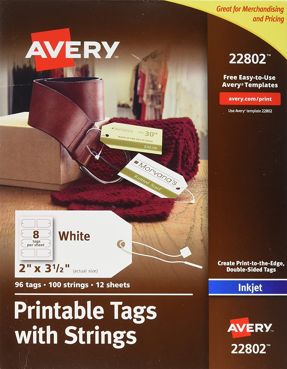 Avery Printable Tags with Strings for Inkjet Printers, 2 x 3.5-Inches