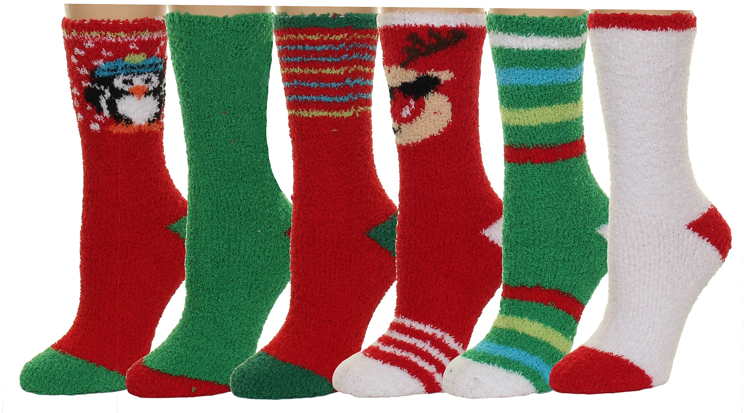 Fuzzy and Soft Holiday Christmas Slipper Socks, 6 Pack, Size 9-11 (Style 5)