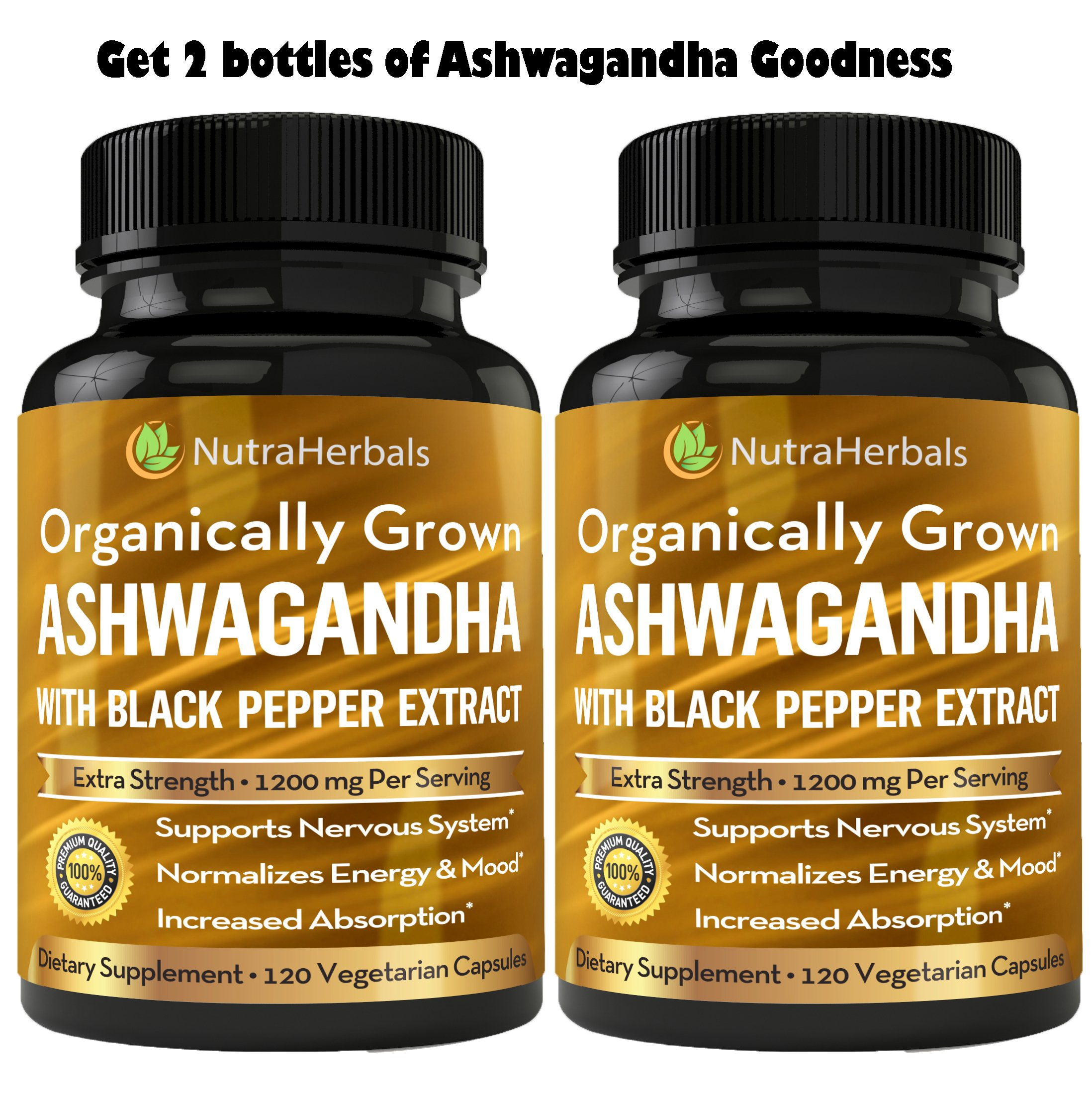 Organic Ashwagandha Root Powder 1200mg - 120 Veggie Capsules - Ashwaganda Supplement Certified Organic – Black Pepper Extract For Increased Absorption