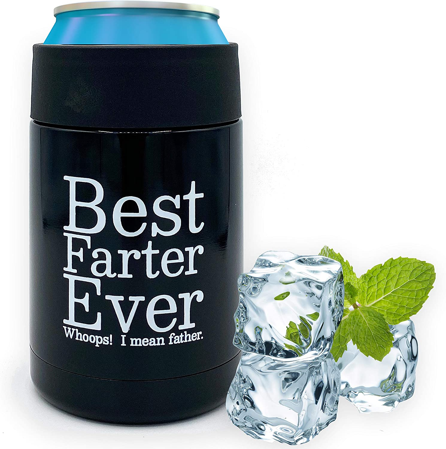 Beer Coozies for Cans - Best Farter Ever Beer Can Insulator | 12 oz Metal Can Coozie Insulated Can Cooler, Stainless Steel Drink Thermos Holder | Beverage Rambler Coolers, Fathers Day Coozy Gift Cozy