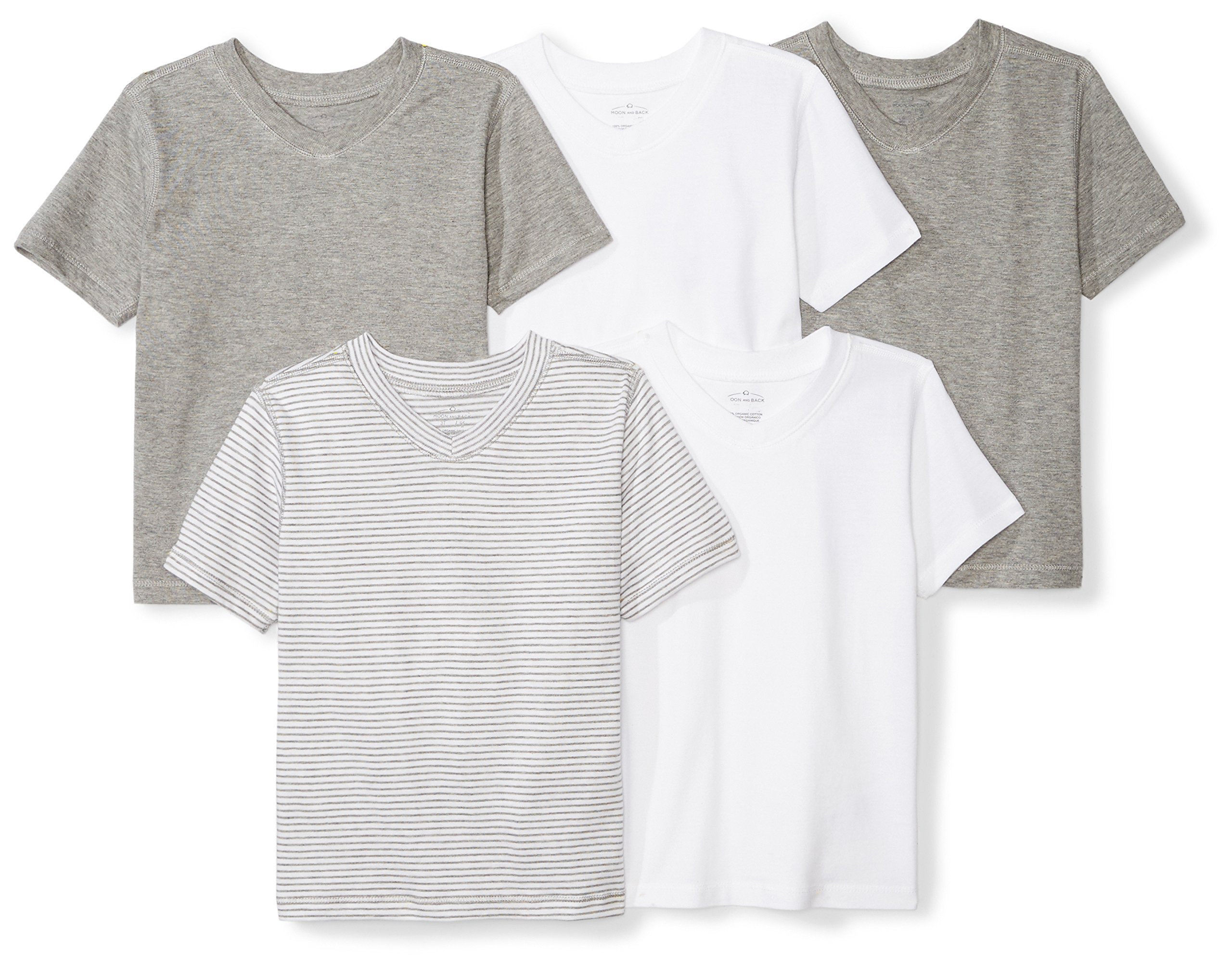 Moon and Back Set of 5 Organic V-Neck Short-Sleeve T-Shirts, Grey Multi, 24 Months by Moon and Back