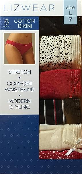 e82c35712d2c Lizwear Womens Cotton Bikini Underwear 6pk, Crimson, Large Size 7:  Amazon.ca: Clothing & Accessories