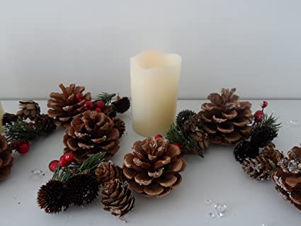 160 Cm Rustic Christmas Garland Natural Pine Cone Berries Fireplace