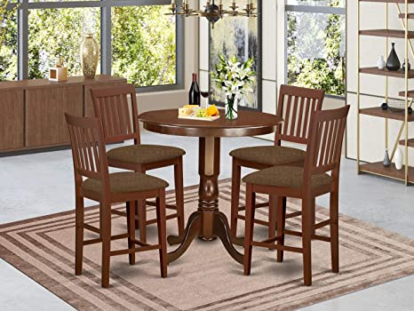 East West Furniture Javn5 Mah C 5 Piece Dining Table Set Round Top Wooden Table 4 Dining Chairs Slatted Back And Linen Fabric Seat Mahogany Finish Furniture Decor