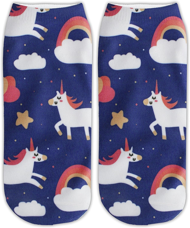 Zmart Women Funny Cute Unicorn Colorful 3D Print Ankle Low Cut Socks