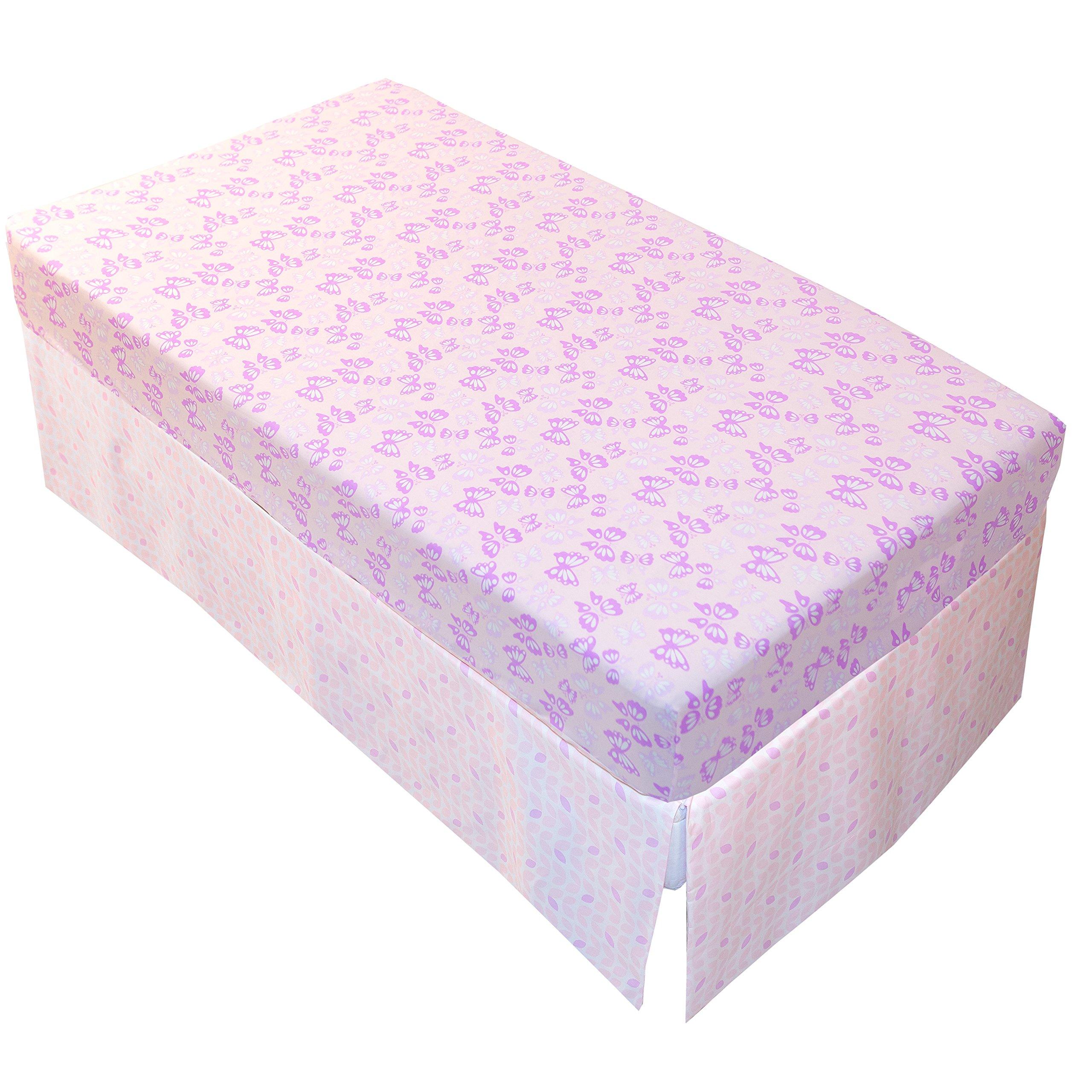 Kushies Baby Ben & Noa Percale Crib Skirt, Pink Petals by Kushies (Image #4)