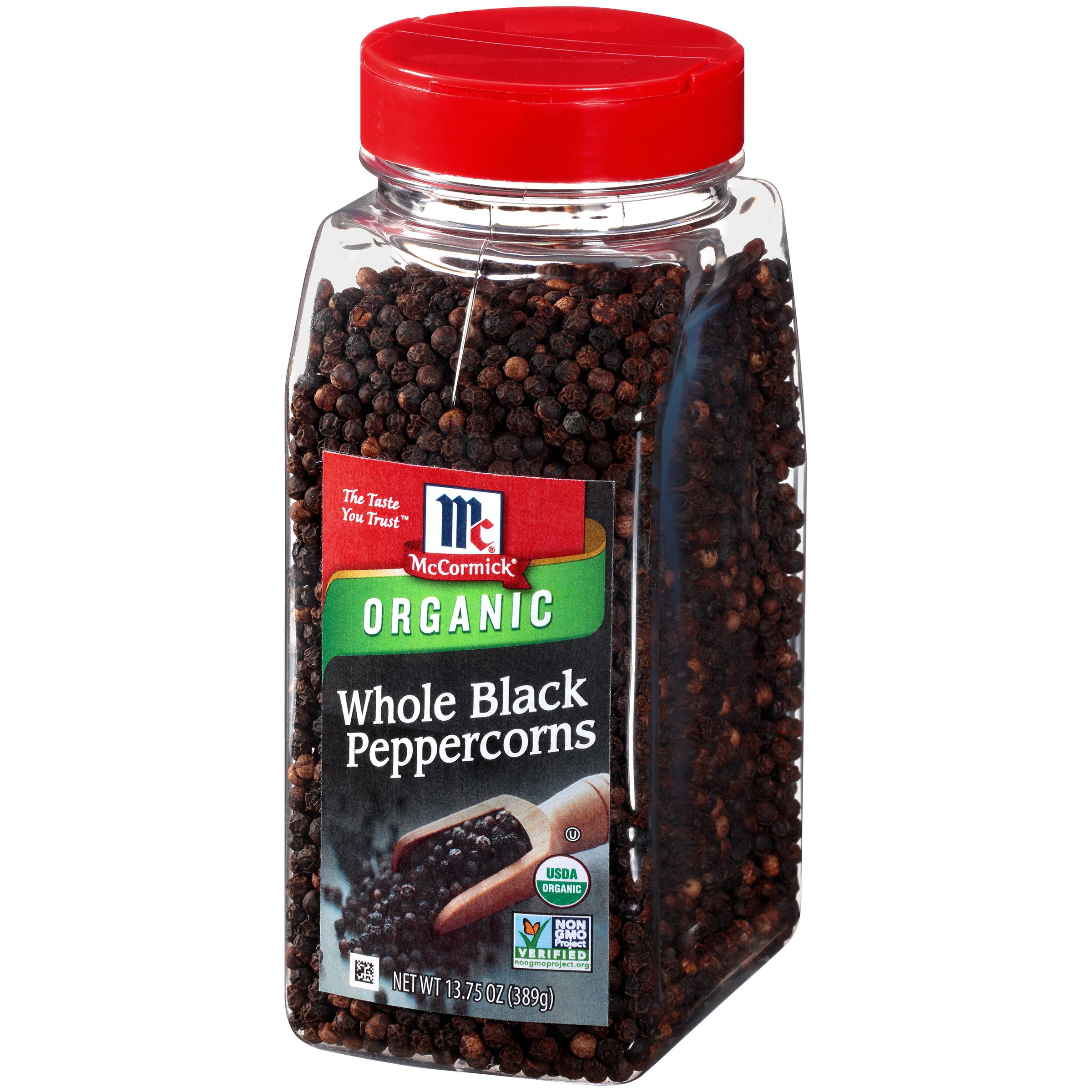 McCormick Organic Whole Black Peppercorns, 13.75 oz by McCormick
