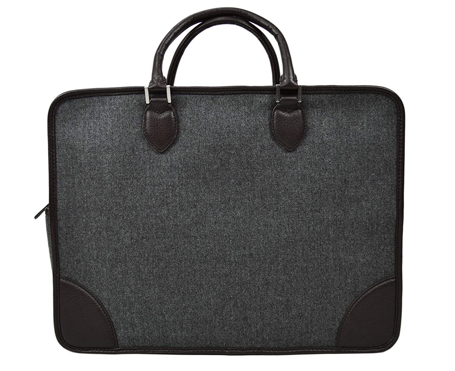 9d725dbab0 Amazon.com | Brooks Brothers Mens Wool and Genuine Leather Soft Body  Rectangle Briefcase Bag Luggage Grey Dark Brown | Briefcases