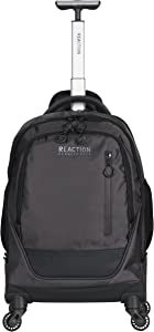 "Kenneth Cole Reaction 17"" Polyester Dual Compartment 4-Wheel Laptop Backpack, Pindot Charcoal"