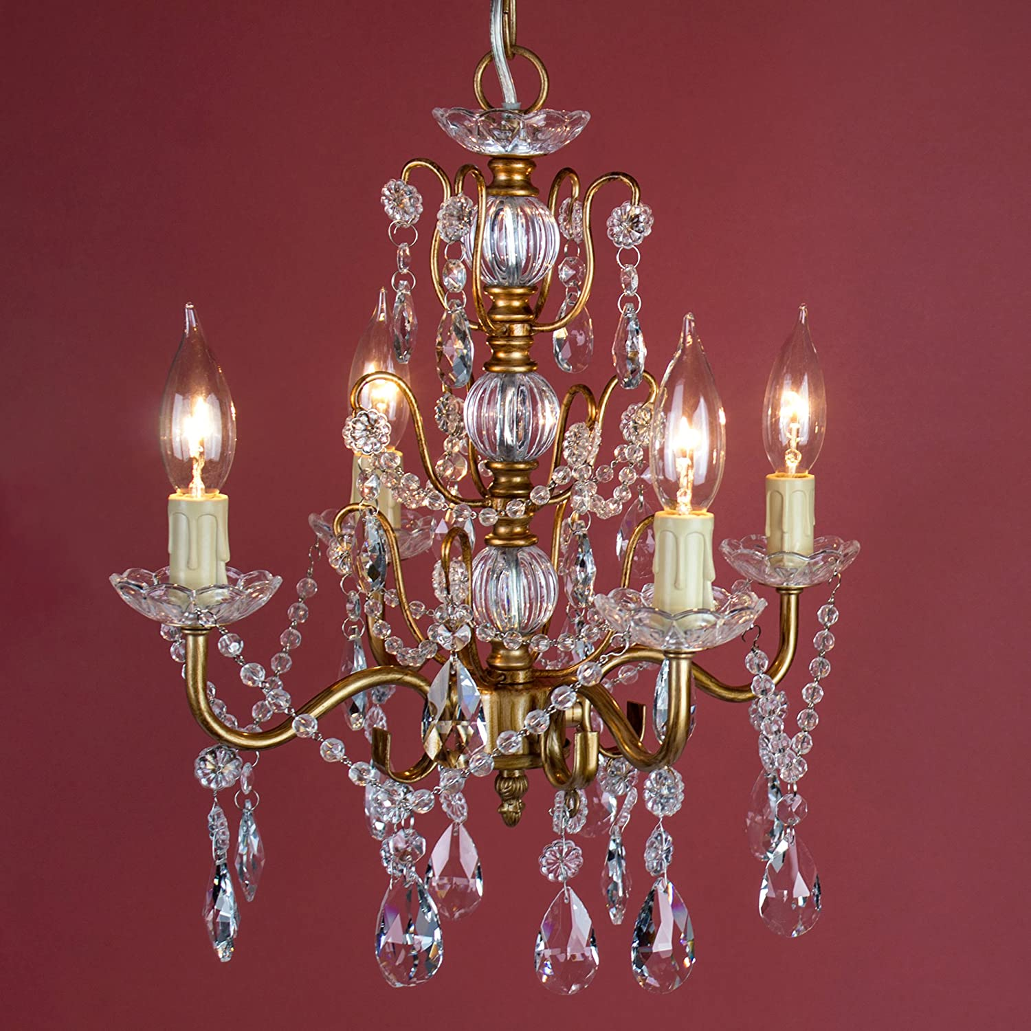 Mini Swag Plug-In Glass Pendant 4 Light Wrought Iron Ceiling Lighting Fixture Lamp Madeleine White Crystal Chandelier