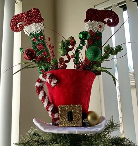 802d407319649 Image Unavailable. Image not available for. Color  Santa s Top Hat Tree  Topper ...