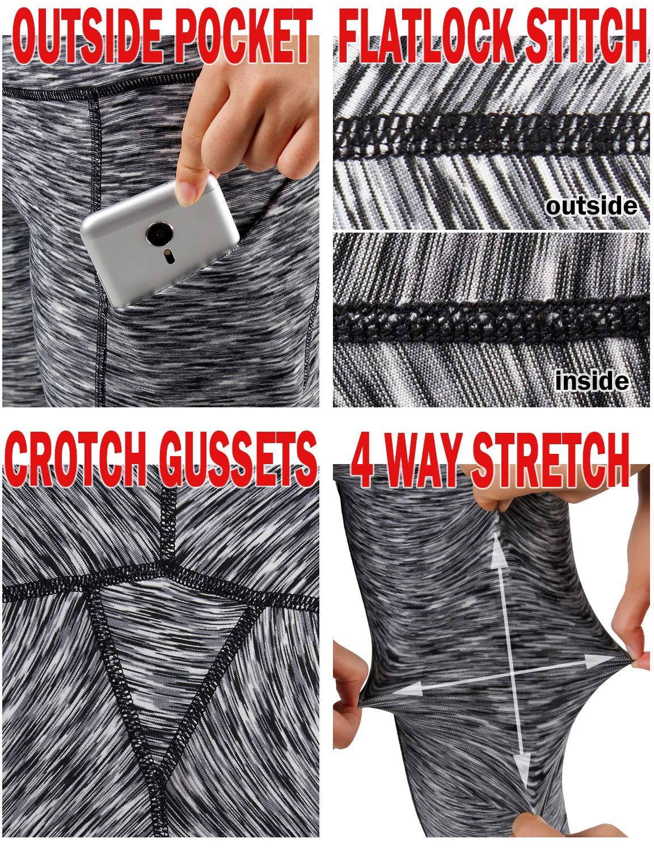 ODODOS High Waist Out Pocket Yoga Capris Pants Tummy Control Workout Running 4 Way Stretch Yoga Leggings,SpaceDyeBlack,X-Small by ODODOS (Image #6)