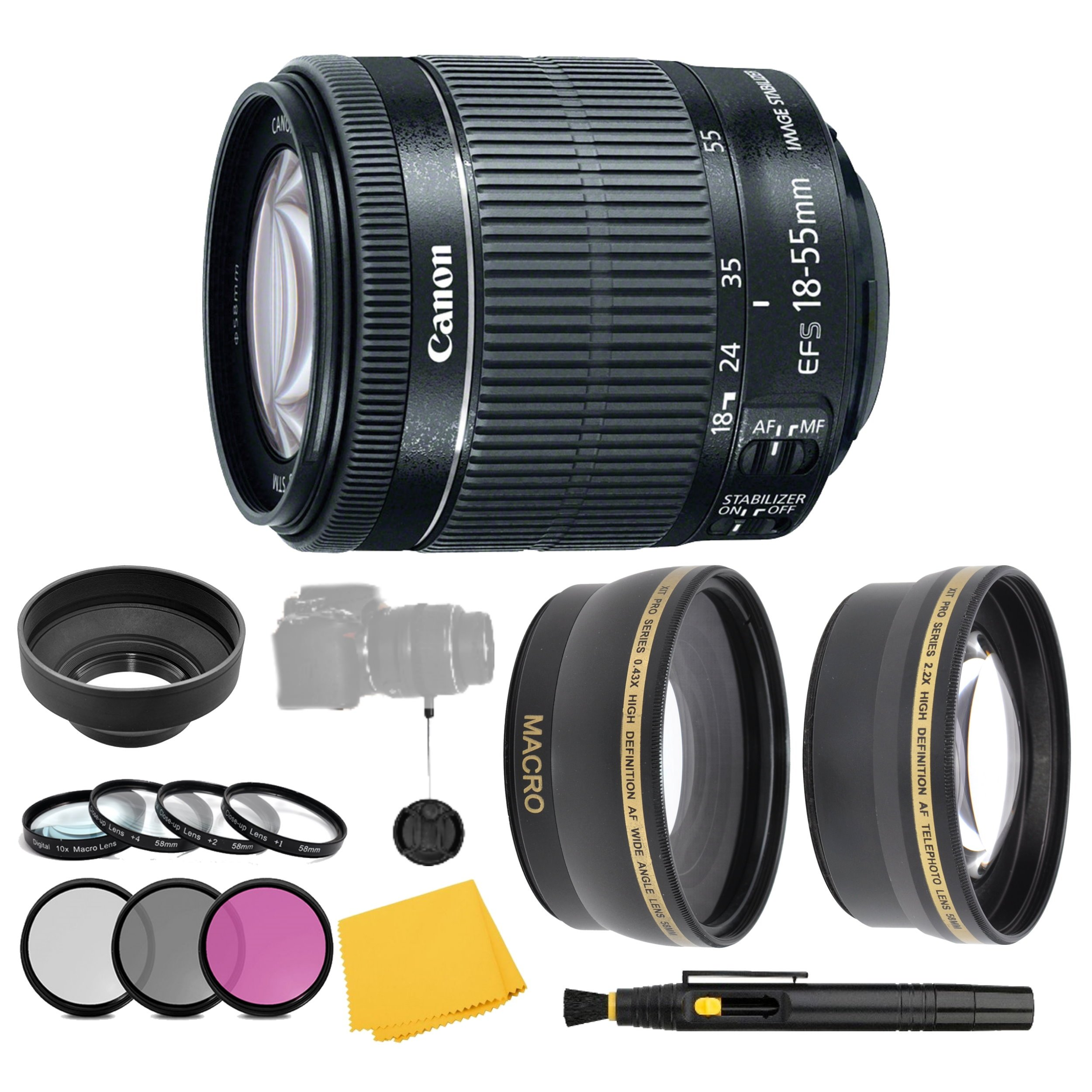 Canon EF-S 18-55mm f/3.5-5.6 IS STM Lens + Filter Set + Close Up Macro Filters + Wide Angle Lens + Telephoto Lens + Pro Accessory Bundle - 18-55mm STM: International Version (No Warranty) by AOM
