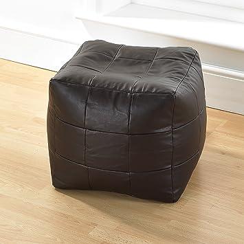 Fantastic Brown Faux Leather Bean Bag Footstool Patchwork Design Bean Luxury Bag Cube Machost Co Dining Chair Design Ideas Machostcouk