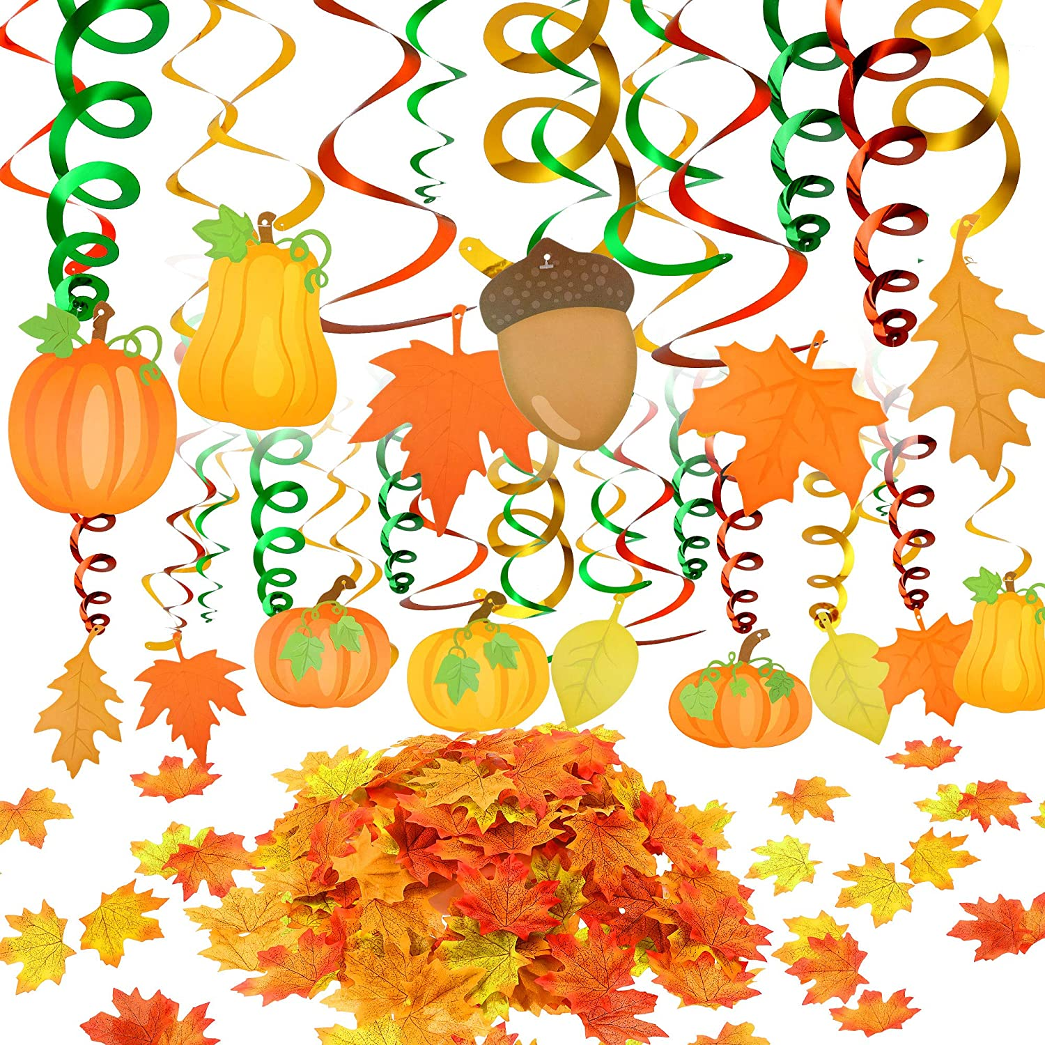 120 Pieces Fall Hanging Swirl Thanksgiving Decorations and Artificial Fall Maple Leaves Kit, Pumpkin and Maple Leaf Fall Themed Decorations for Autumn Birthday Outdoor Garden Home Office