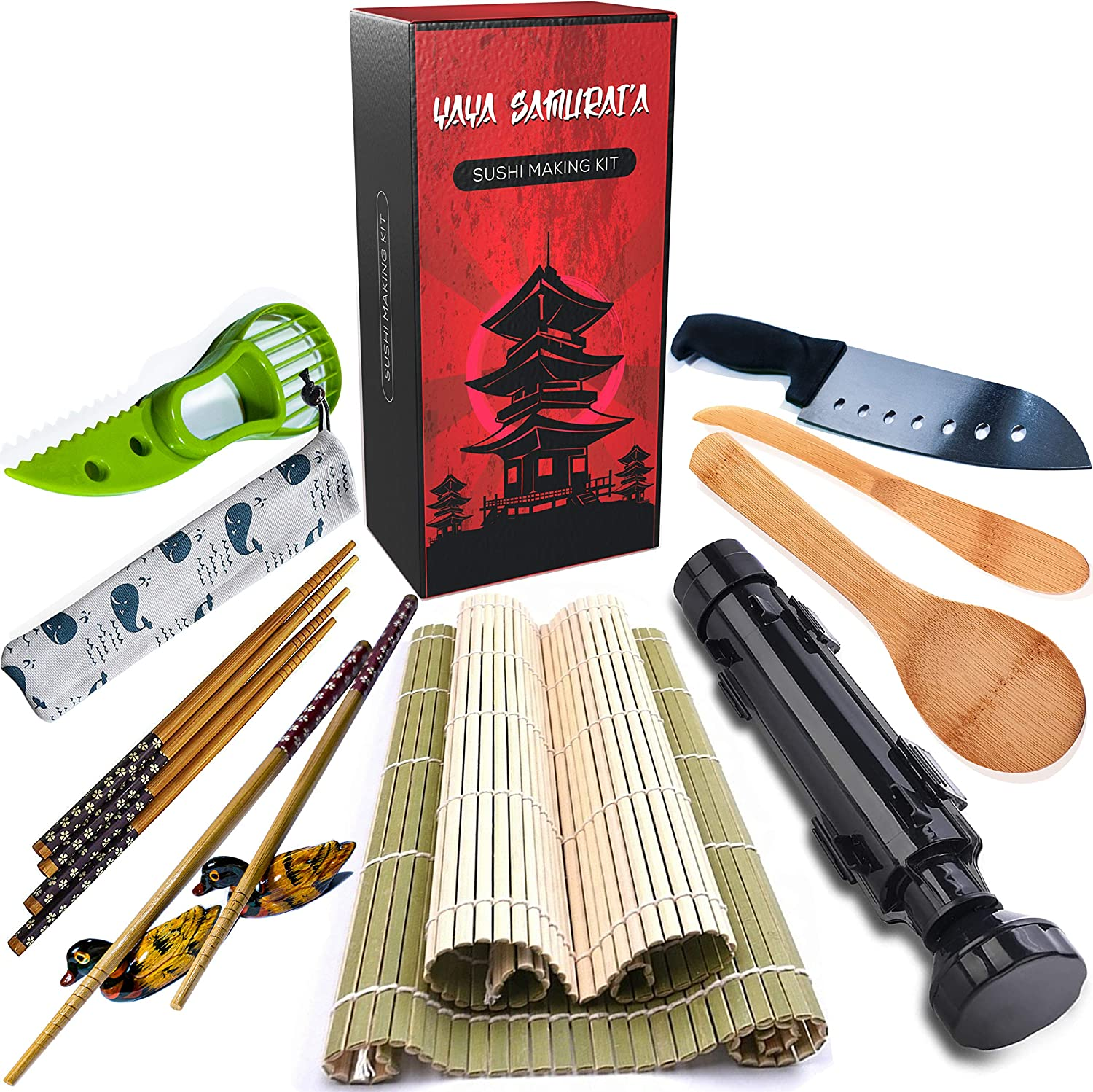Sushi Making Kit by Yaya Samurai'a - Professional Sushi Utensils and Gadget Tools Set for Instant, Homemade Japanese Food - Easy to Use, Great for Cooking Beginners, Chefs, Gifts, Kids and Party