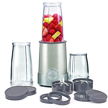 BELLA (13330) Personal Size Rocket Blender, 12 Piece Set, Stainless Steel & Chrome