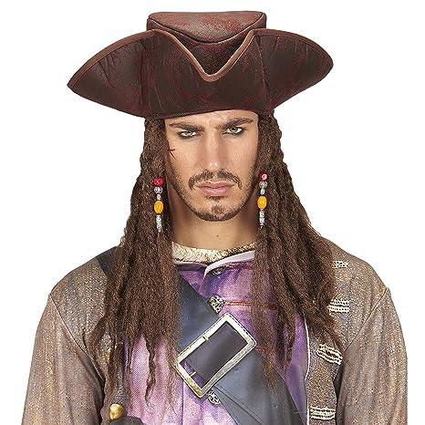 Widmann-WDM09644 Tricorno Pirata Similpelle con Treccine Rasta Cappello  Party e Carnevale 881 f508b63746f9