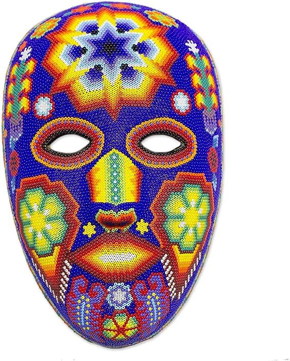 Amazon Com Novica Decorative Huichol Papier Mache And Beads Mask Multicolor Estrella Home Kitchen