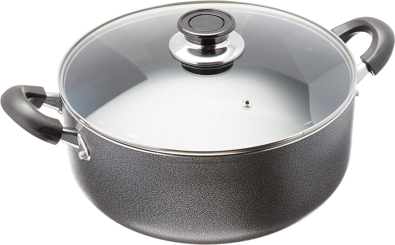 8 Qt Uniware 4018-8 2 Handle Non-Stick Pot With Glass Lid