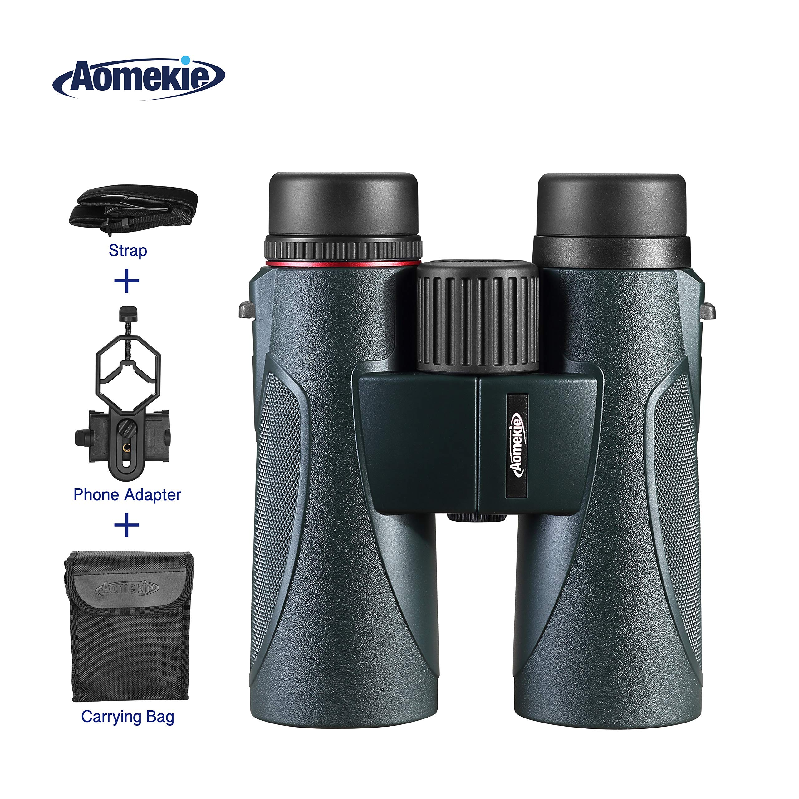 Aomekie Binoculars for Adults 8X42 Compact Waterproof Binocular with Phone Adapter Strap Carrying Bag for Birdwatching Hunting Sports Concerts Theater by AOMEKIE