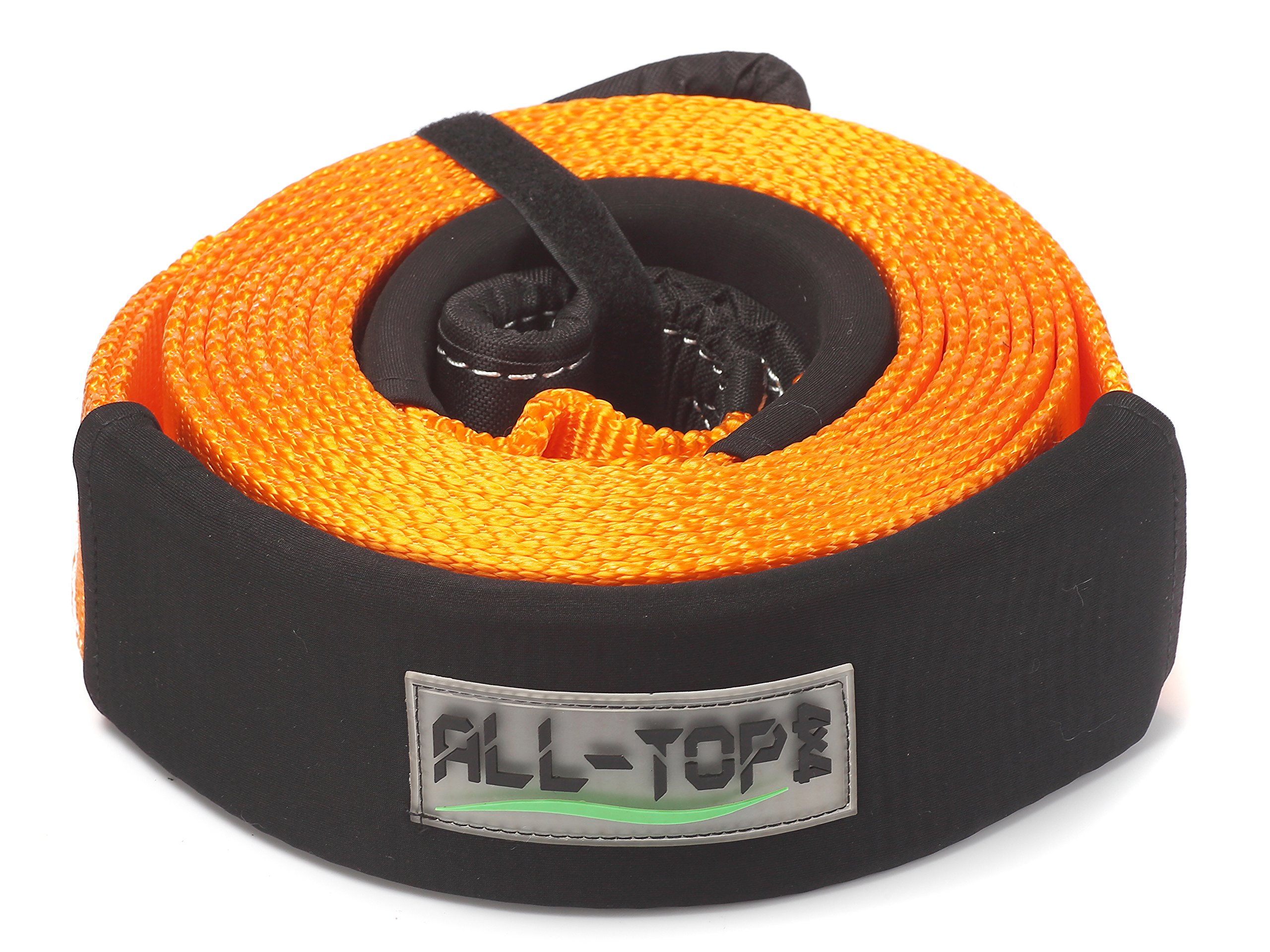 ALL-TOP 100% Nylon Recovery Tow Strap 3'' x 20ft - 32,000 Lbs Snatch Strap - 22% Elasticity by Nylon N66 - Triple Reinforced Loop Adjustable Protector Sleeve - Generate Kinetic Force to Recover by ALL-TOP