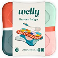 Welly Bandages - Bravery Badges, Flexible Fabric, Adhesive, Standard Shapes, Block Geo Patterns - 48 Count