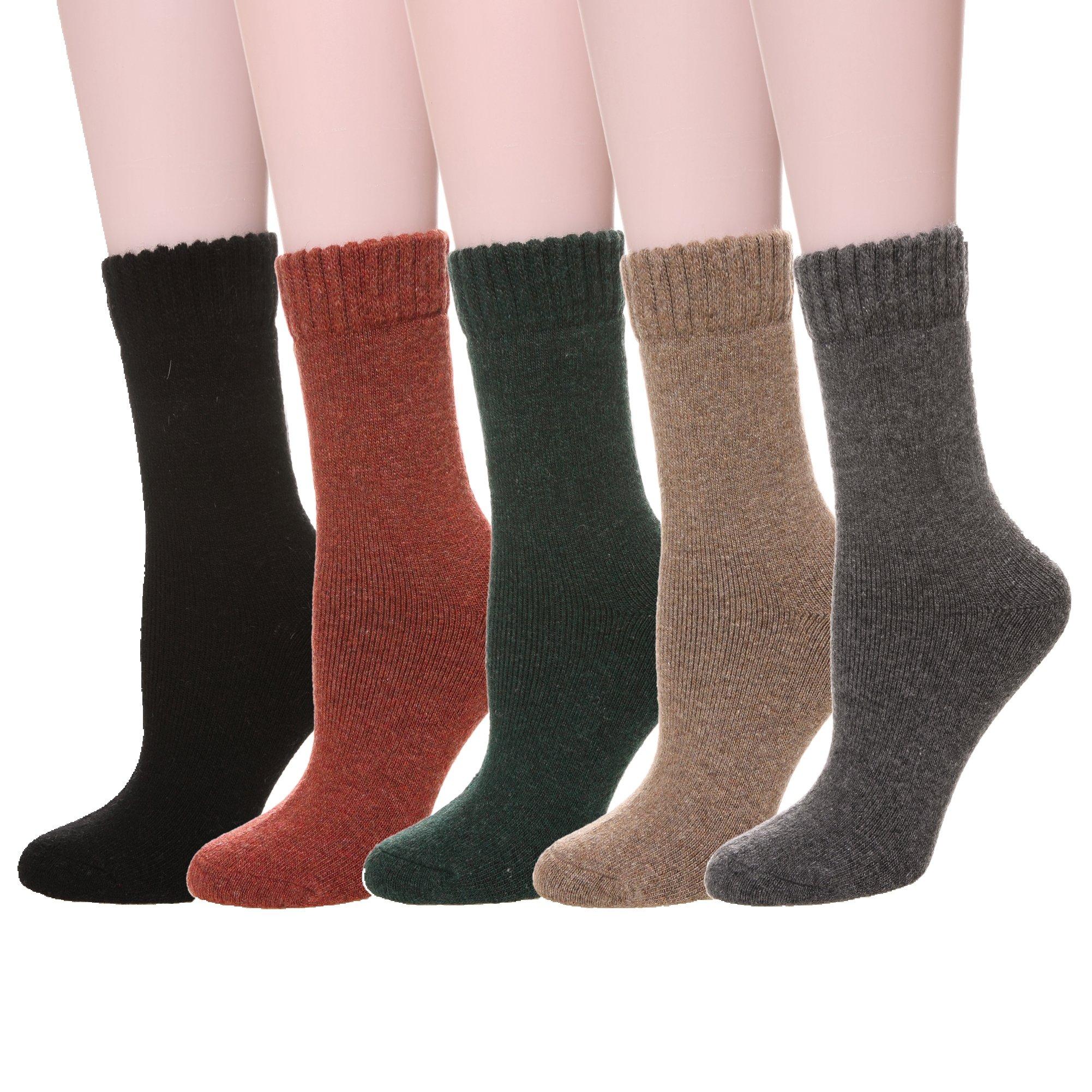 Velice Womens Super Thick Merino Wool Knit Warm Wool Crew Winter Socks 4-Packs (5 Pairs soild color)