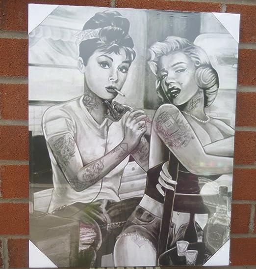 Audrey Hepburn Marilyn Monroe Tatuaje de 16 x20 cm) Junta pared ...