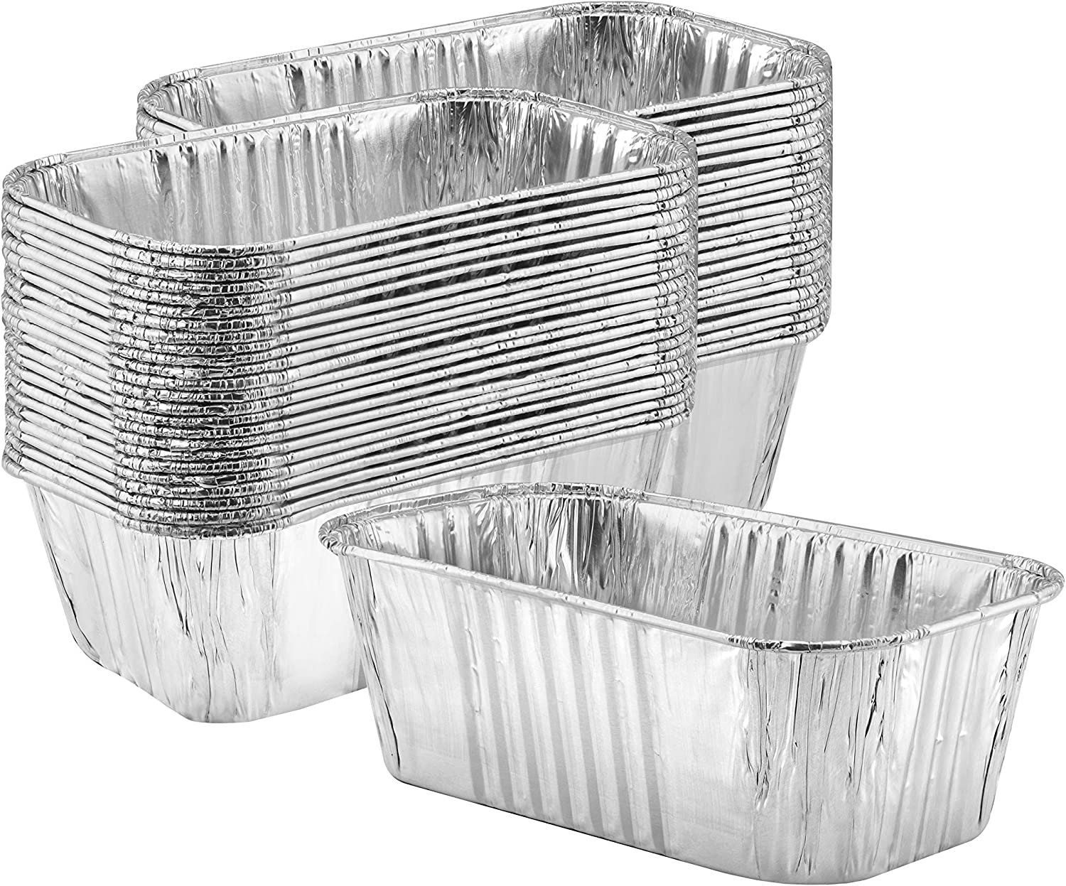 Thick Aluminum Loaf Pans (50 Pack) | 1 Lb. Mini Baking Pans for Bread, Lasagna, Meatloaf, Cake | Heavy Duty Disposable Oven Bake Tin for Cooking & Food Storage